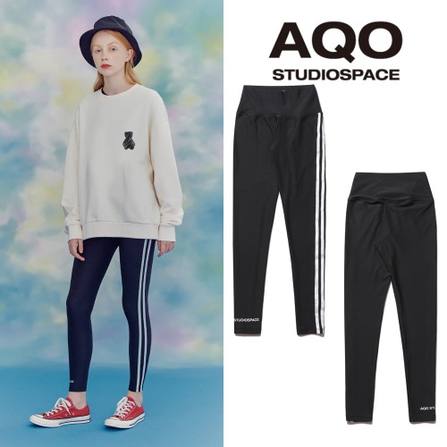 [AQOSTUDIO]AQO SIDE TAPE LEGGINGS BLACK