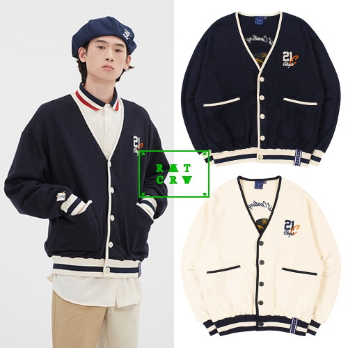 [ROMANTICCROWN] CLASSIC LOGO COTTON CARDIGAN 2COLOR