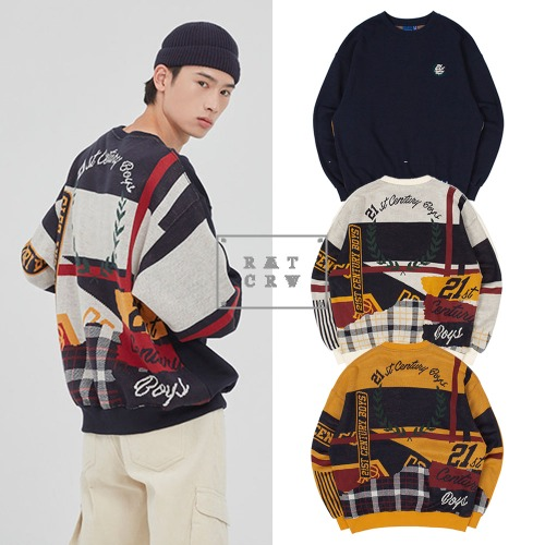 [ROMANTICCROWN] 21C BOYS JACQUARD CREW NECK 3COLOR