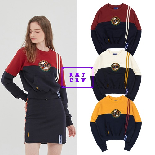 [ROMANTICCROWN WOMAN] GNAC COLOR BLOCK SWEATSHIRT 3COLOR