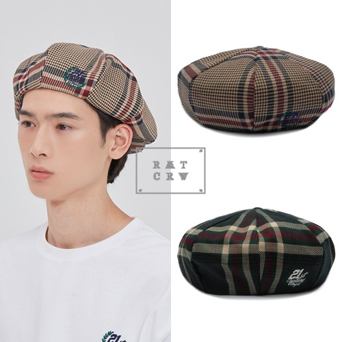 [ROMANTICCROWN] OLD CHECK NEWSBOY CAP 2COLOR