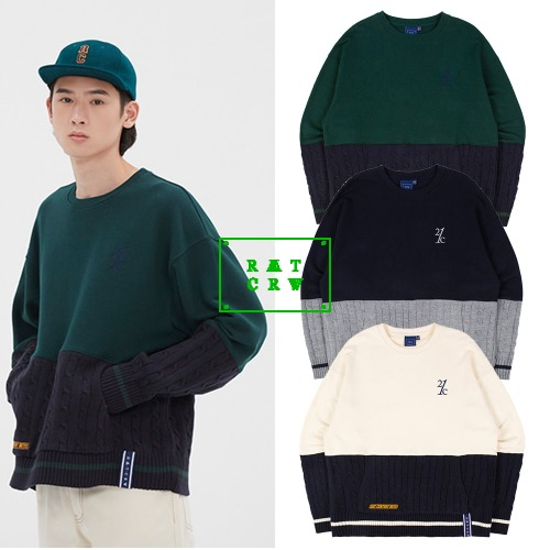 [ROMANTICCROWN] MIX FABRIC SWEATSHIRT 3COLOR