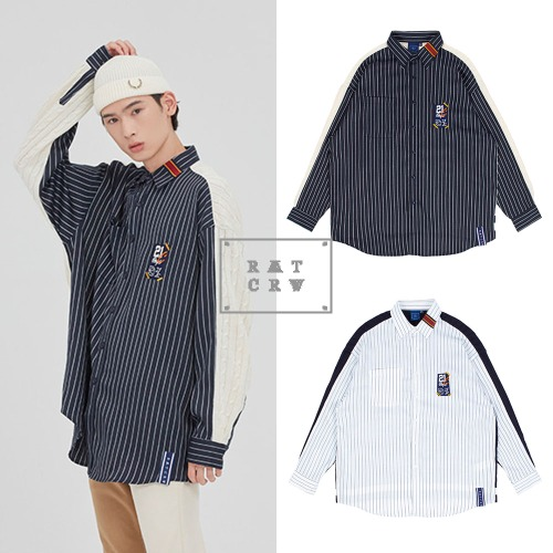 [ROMANTICCROWN] STRIPED REVERSE KNIT SHIRT 2COLOR