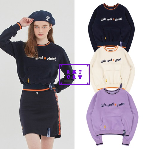 [ROMANTICCROWN WOMAN] GNAC POCKET SWEATSHIRT 3COLOR