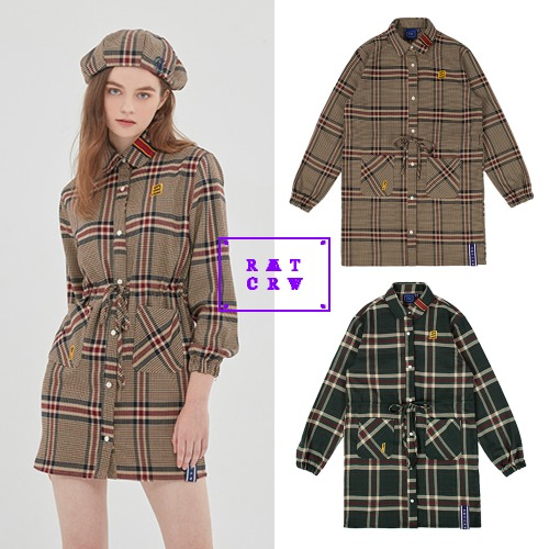 [ROMANTICCROWNWOMAN] OLD CHECK SHIRT DRESS 2COLOR