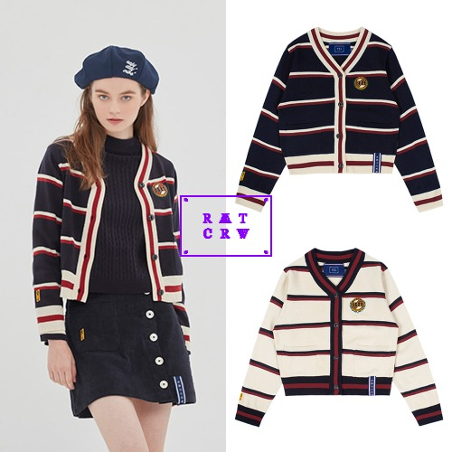 [ROMANTICCROWN WOMAN] CLASSIC LOGO STRIPE CARDIGAN 2COLOR