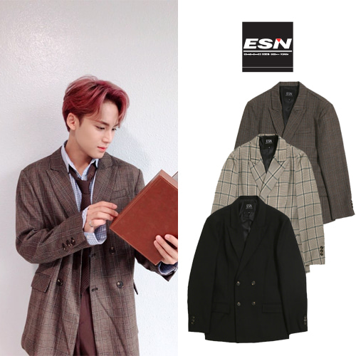 [ESN] OVERFIT DOUBLE JACKET GLENCHECK 3COLOR_SEVENTEEN