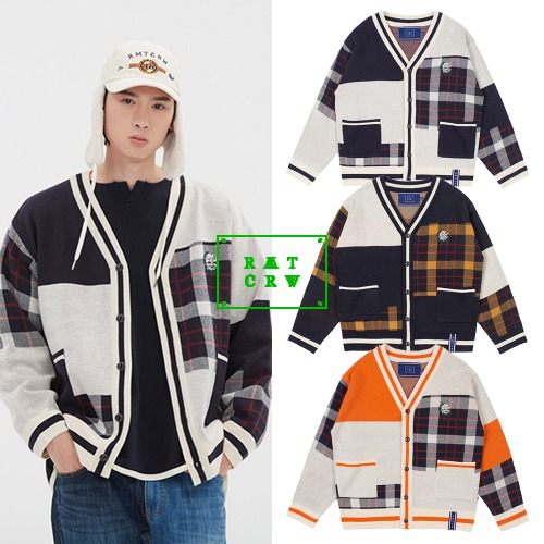 [ROMANTICCROWN] SQUARE CHECK KNIT CARDIGAN 3COLOR