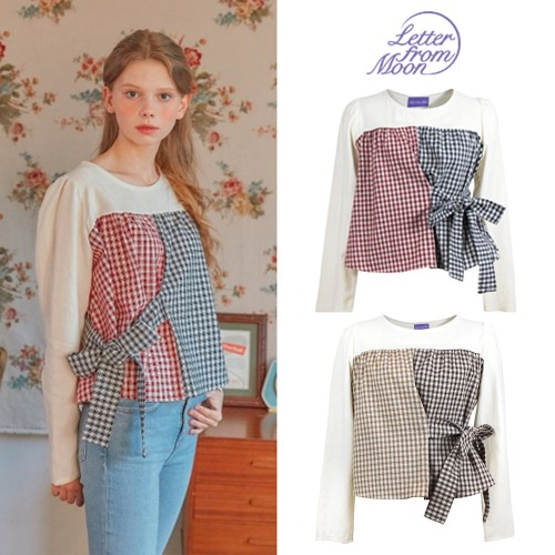 [LETTERFROMMOON] TWO TONE CHECK RIBBON BLOUSE 2COLOR