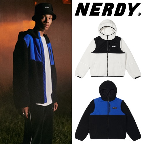 [NERDY] COLOR BLOCK FLEECE JACKET 2COLOR