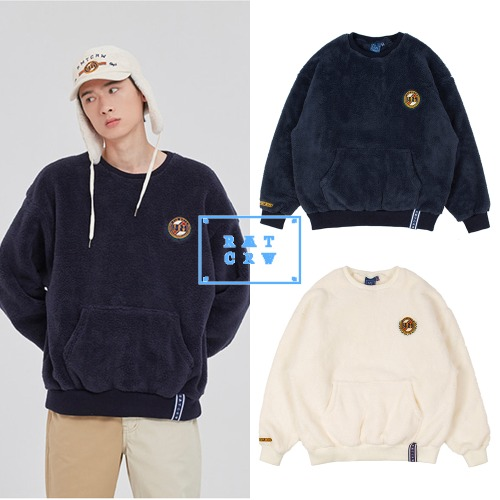 [ROMANTICCROWN] ALL FLEECE POCKET CREW NECK 2COLOR