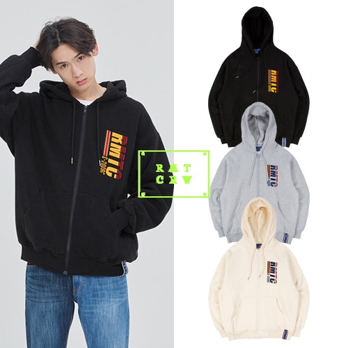 [ROMANTICCROWN] RMTC LOGO HOOD ZIP UP 3COLOR