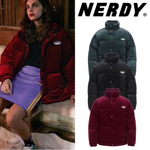 [NERDY] CORDUROY VELVET DOWN JACKET 3COLOR
