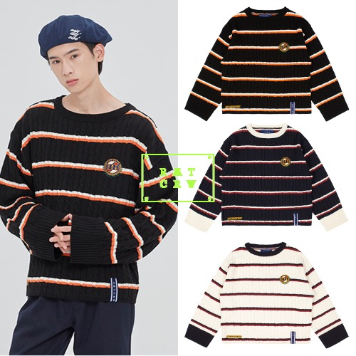 [ROMANTICCROWN] STRIPE CABLE KNIT 3COLOR