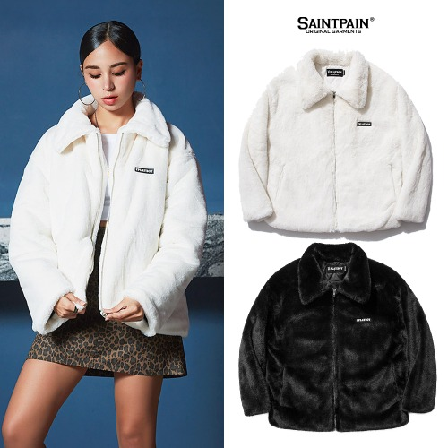 [SAINTPAIN]PBXSP WOMENS RABBIT LOGO FUR JACKET 2COLOR