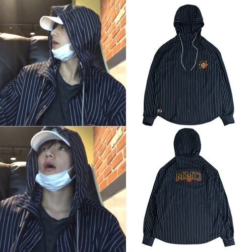 [ROMANTICCROWN] STRIPED HOOD SHIRT NAVY_BTS