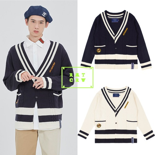 [ROMANTICCROWN] V NECK POCKET KNIT CARDIGAN 2COLOR