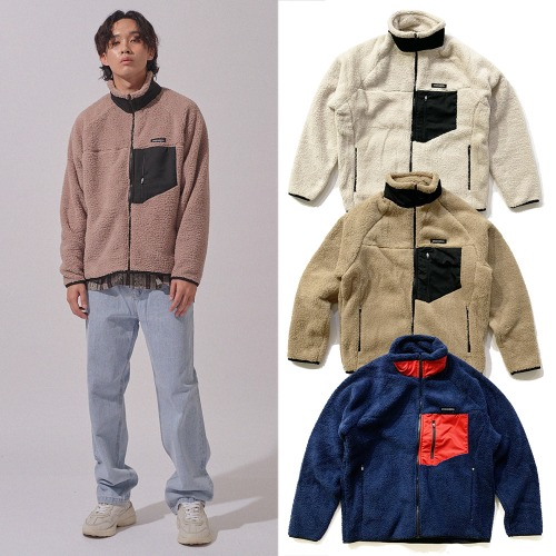 [GINGHAMBUS] PATCH SHEARLING FLEECE JACKET 3COLOR