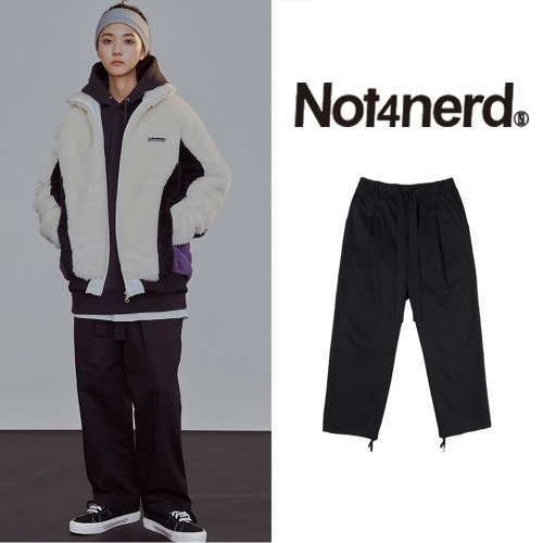 [NOT4NERD] ONE TUCK WIDE PANTS BLACK