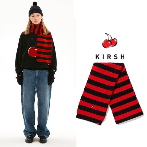 [KIRSH] CHRISTMAS STRIPE MUFFLER IA BLACK