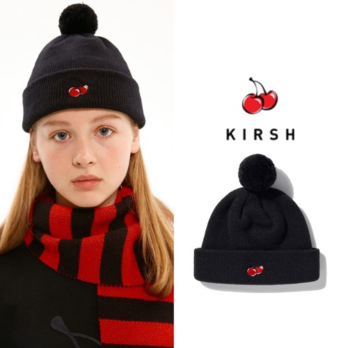 [KIRSH] CHRISTMAS KNIT BALL BEANIE IA BLACK