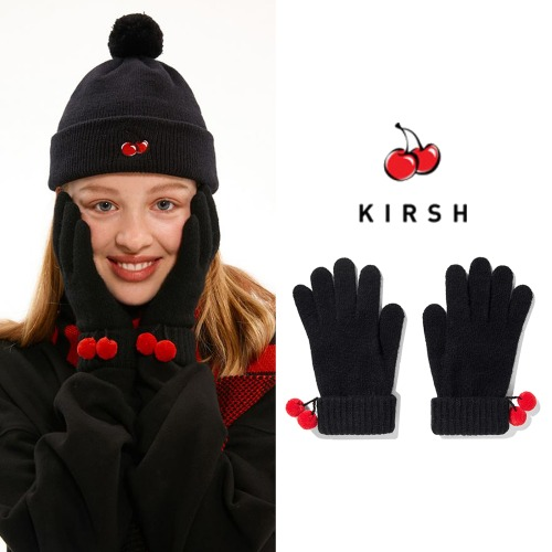 [KIRSH] CHRISTMAS KNIT BALL GLOVES IA BLACK
