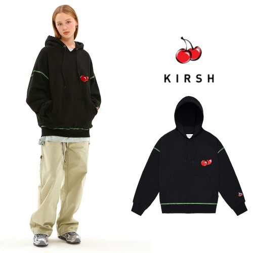 [KIRSH] MIDDLE CHERRY NEON STITCH HOODIE JS BLACK