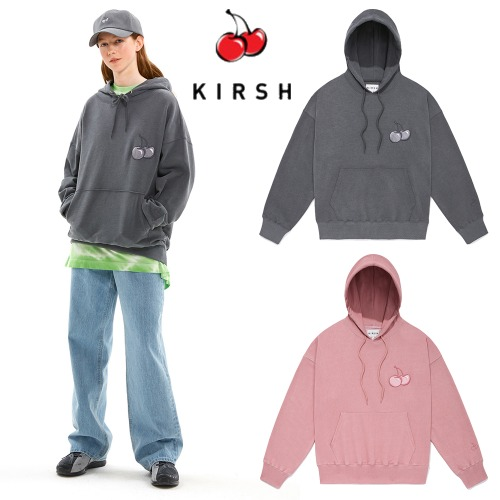 [KIRSH] MIDDLE CHERRY PIGMENT WASHING HOODIE JS 2COLOR