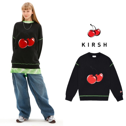 [KIRSH] BIG CHERRY NEON STITCH SWEATSHIRT JS BLACK
