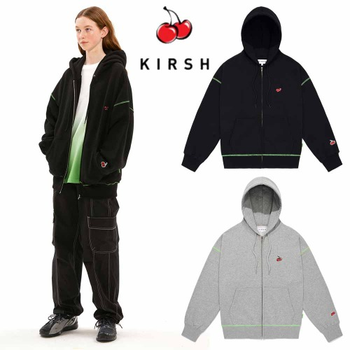 [KIRSH] SMALL CHERRY NEON STITCH HOODIE ZIPUP JS 2COLOR