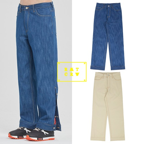 [ROMANTICCROWN] CEREMONY TAPE BUTTON PANTS 2COLOR
