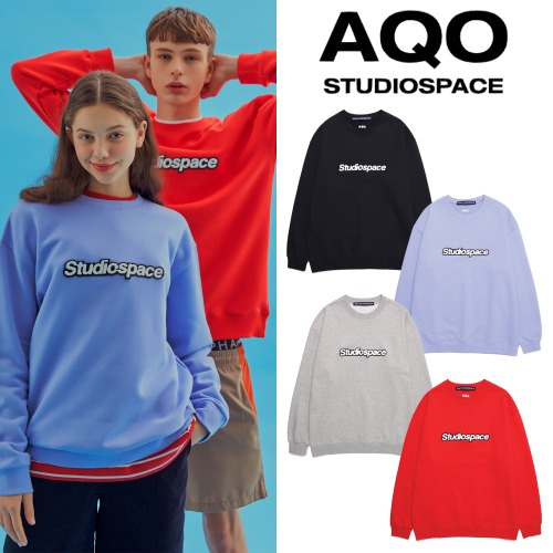 [AQOSTUDIO] AQO SWEATSHIRTS WITH LOGO 4COLOR