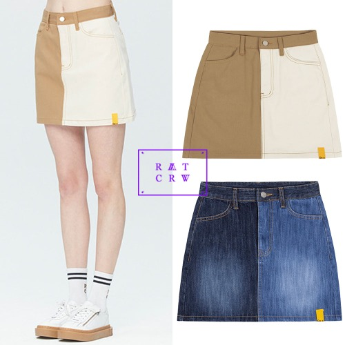 [ROMANTICCROWN WOMAN] TONE ON TONE POCKET SKIRT 2COLOR