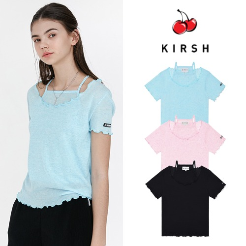 [KIRSH] KIRSH WAVE STITCH U-NECK T-SHIRT JH 3COLOR