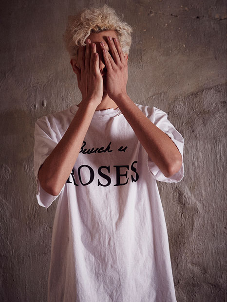 17ss behind rose embroidery t-shirts(white)