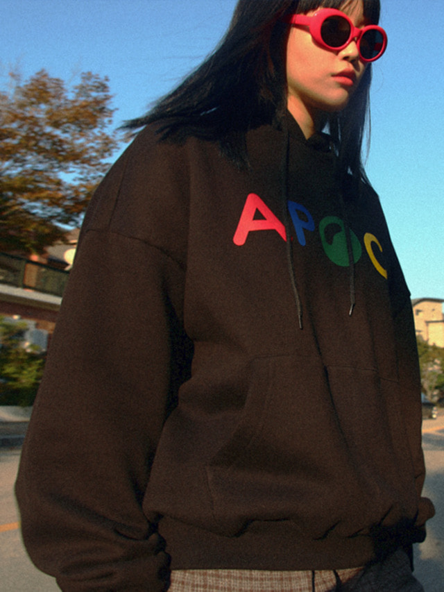 [APOC]Multi Color Logo hoodie_Black