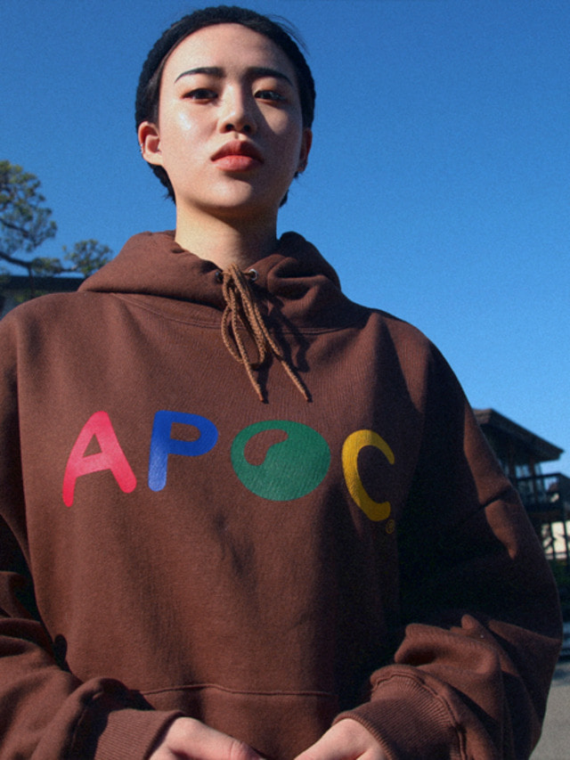 [APOC]Multi Color Logo hoodie_Brown