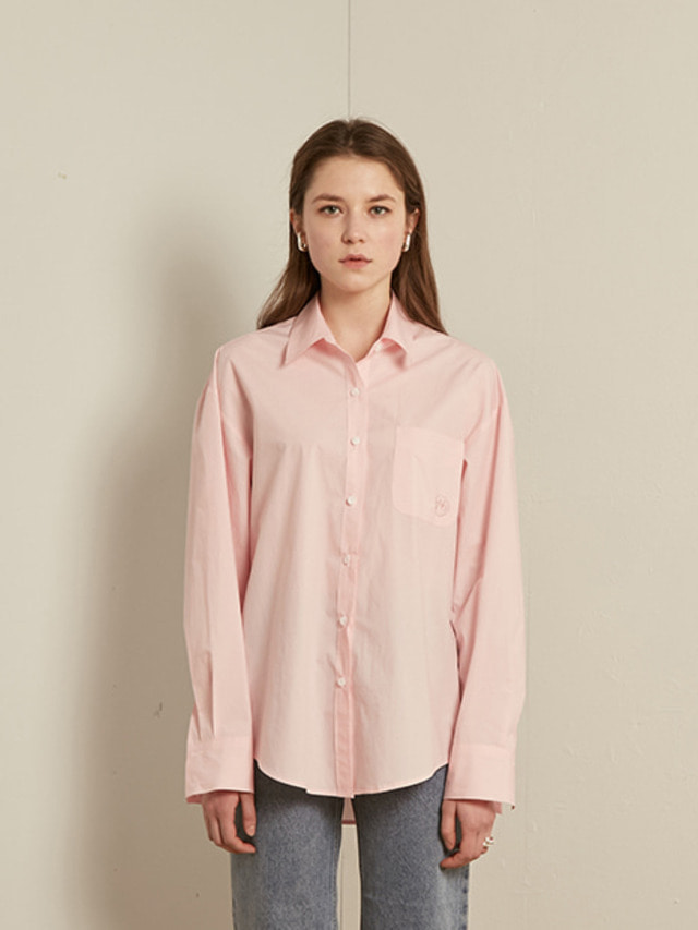 [13month]SOLID COTTON SHIRT (LIGHT PINK)