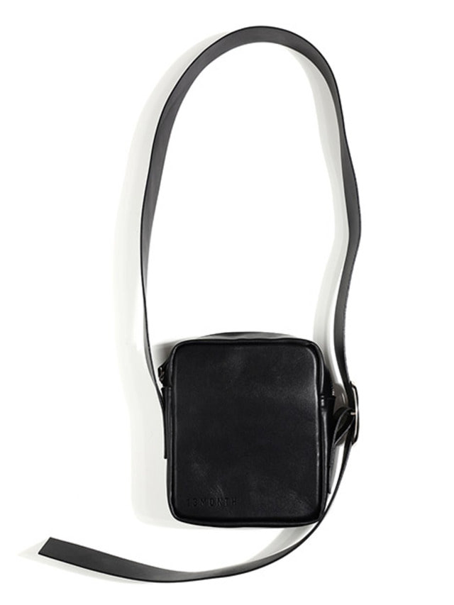 [13month]LEATHER CROSS BAG (BLACK)