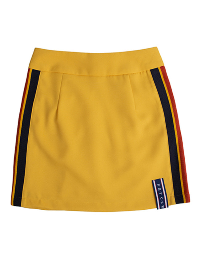 [ROMANTICCROWN] BAND LINE SKIRT MUSTARD