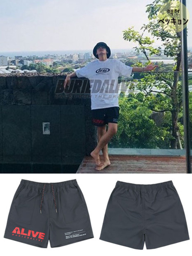 [EXO ITEM]BA ALIVE LOGO SHORT PANTS BLACK