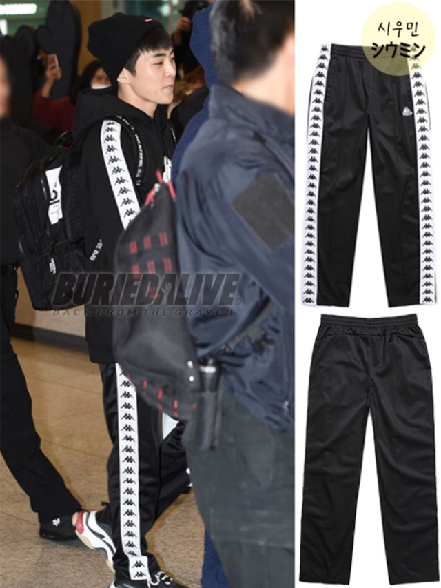 [EXO ITEM]BA X KAPPA FLEECE PANTS BLACK