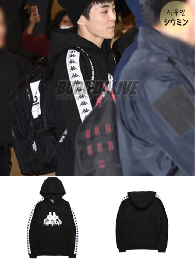 [EXO ITEM]BA X KAPPA HOODY FULL OVER BLACK