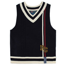 [ROMANTICCROWN] RC DOUBLE LINE VEST NAVY