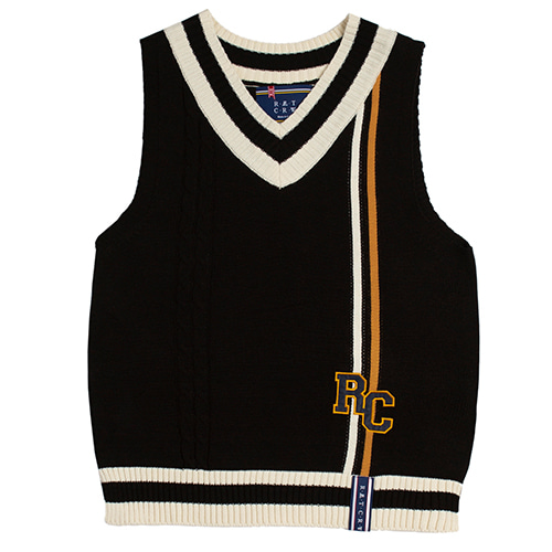 [ROMANTICCROWN] RC DOUBLE LINE VEST BLACK
