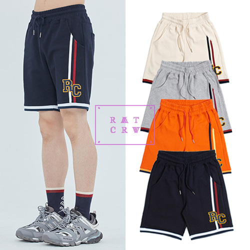 [ROMANTICCROWN] RC DOUBLE LINE HALF PANTS 4COLOR