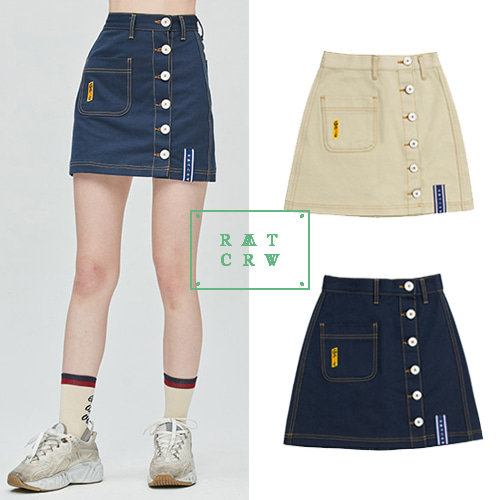 [ROMANTICCROWN WOMAN] GNAC SIDE BUTTON SKIRT 2COLOR