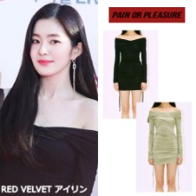 [PAINORPLEASURE] OFF-SHOULDER SHIRRING ONEPIECE 2COLOR_RED VELVET