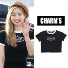[CHARM'S] CHARMS ROSE CIRCLE LOGO CROP T_TWICE
