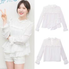 [CATTLINE] SOFT CREAM BLOUSE WHITE_REDVELVET